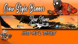 Gaming Banner Crow style  - Speed Art and Template