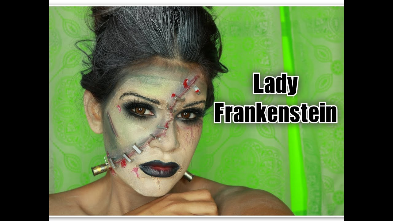 lady frankenstein halloween makeup with products you have at home