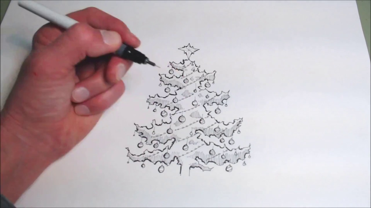 Drawing a Christmas Tree in Pen and Ink, Speed Painting - YouTube