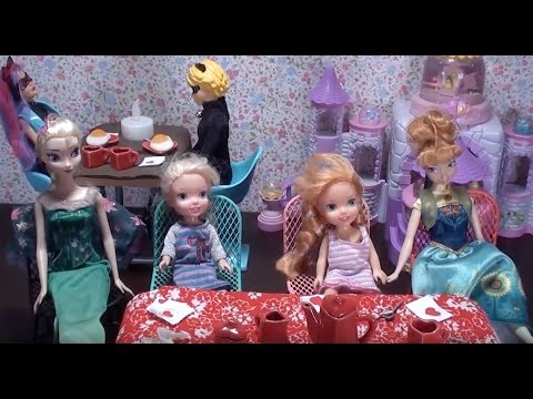 Elsa and Anna toddlers eating out with Barbie