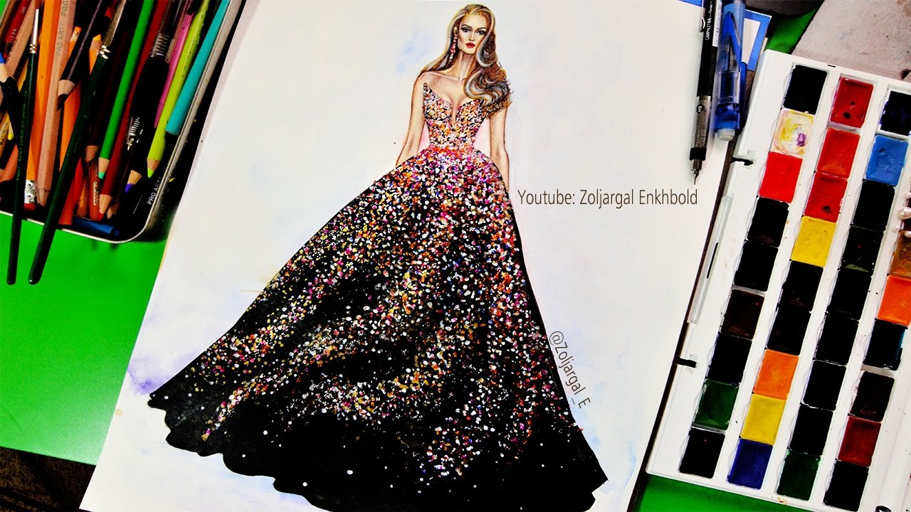 How to Paint   Fashion Illustration for beginners  Sparkly Glitter     How to Paint   Fashion Illustration for beginners  Sparkly Glitter Gown