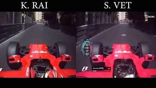 """Raikkonen vs Vettel Lap Comparison """"F1 Monaco 2017"""""""