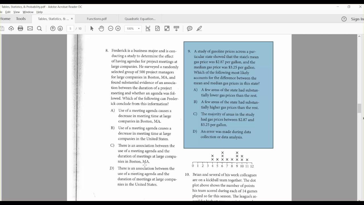 SAT Math Two Way Tables, Statistics, & Probability Ivy Advantage ...