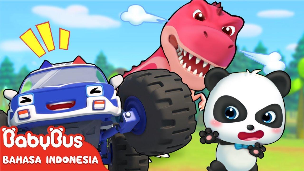 Siapa Lebih Kuat Ya, Mobil Monster Atau Dino Besar? | Lagu Anak Indonesia | BabyBus Bahasa Indonesia