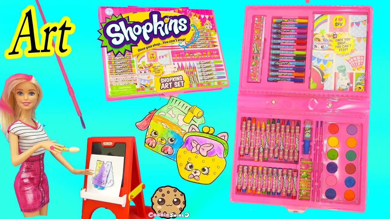 shopkins art set marker water color petkins picture painting toy unboxing video cookie swirl c youtube
