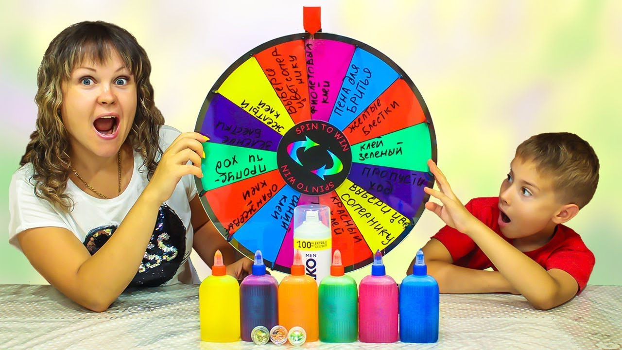 3 ЦВЕТА клея ЛИЗУН ЧЕЛЛЕНДЖ // 3 СЛАЙМА с Mistery Wheel // 3 COLORS OF GLUE SLIME CHALLENGE