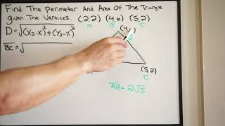 Find the Perimeter aฑd Area of Triangle Using the Vertices