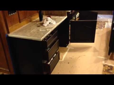 Gel Stain Glazing Kitchen Cabinet Dark Walnut   YouTube