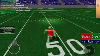 Noob playing football on Roblox