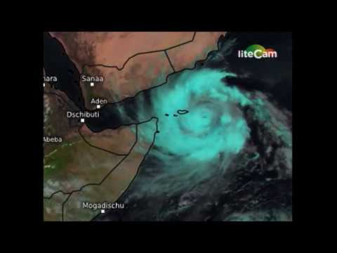 Day Light Satellite Animation Of Cyclone Mekunu Over Arabian sea hitting Oman and Yemen cost.