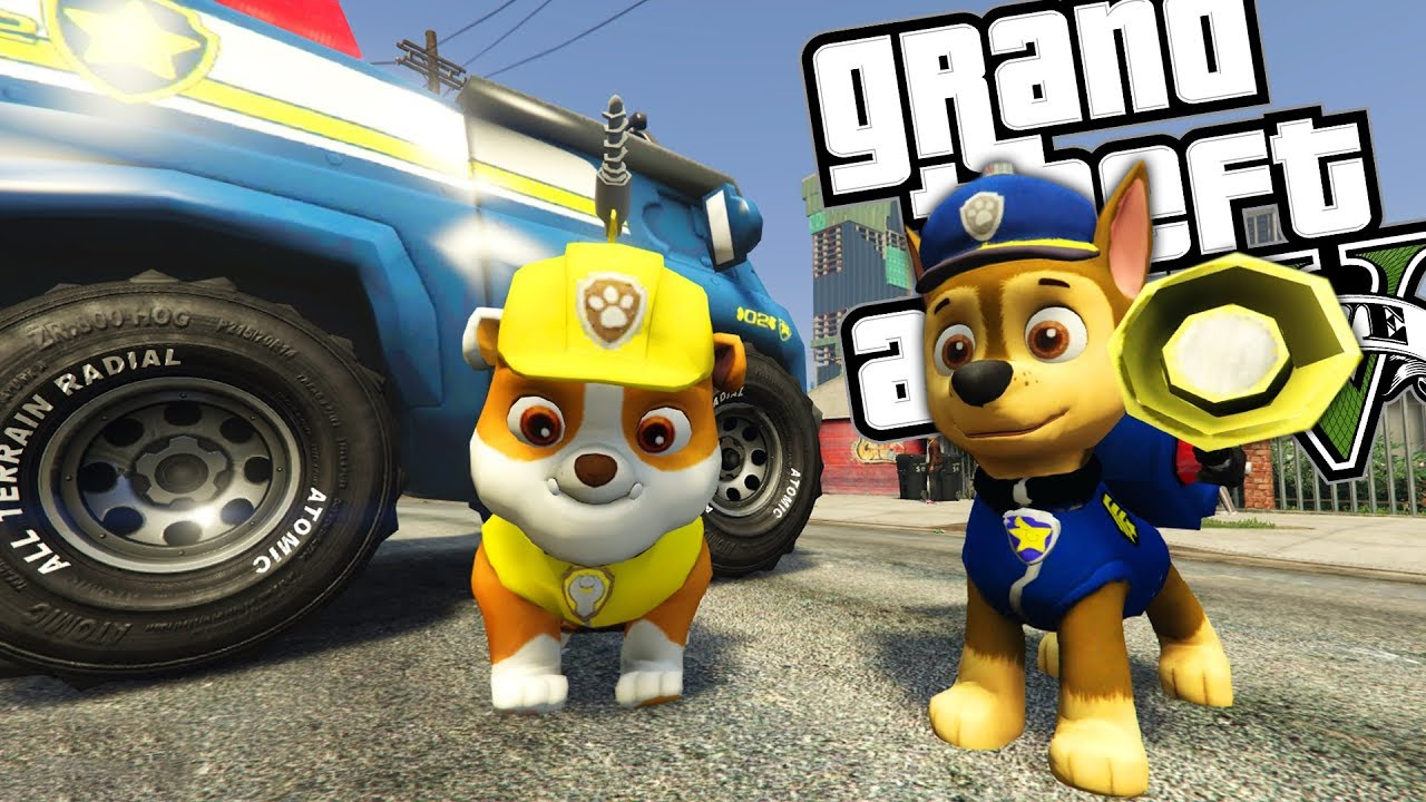 paw-patrol-mod-w-rubble-chase-gta-5-pc-mods-gameplay