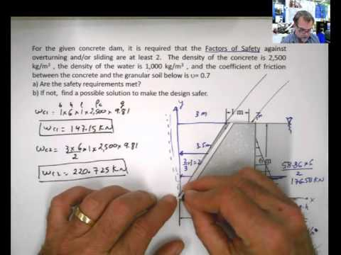 Study Set 9-12 Static of Fluids- Center of Pressure-Submerged Surfaces. Dam Overturning