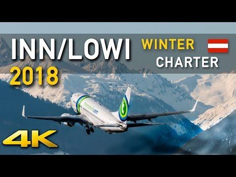 [4K] INN/LOWI Plane Spotting WINTER CHARTER 2018 @ Innbruck - Austria