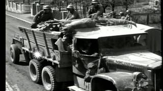 US Army 90th infantry convoy passes through Probstzella Germany HD Stock Footage