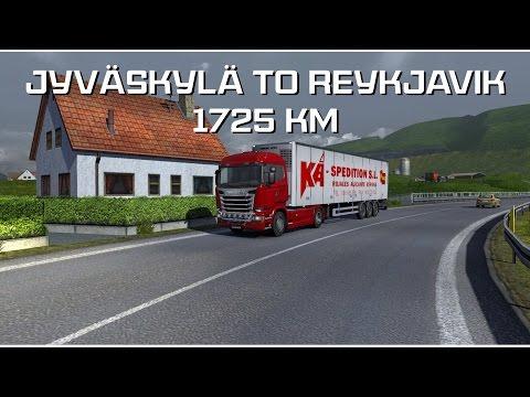 Euro Truck Simulator 2: ProMods 1.91 - Jyväskylä to Reykjavik 1725km (time-lapse)