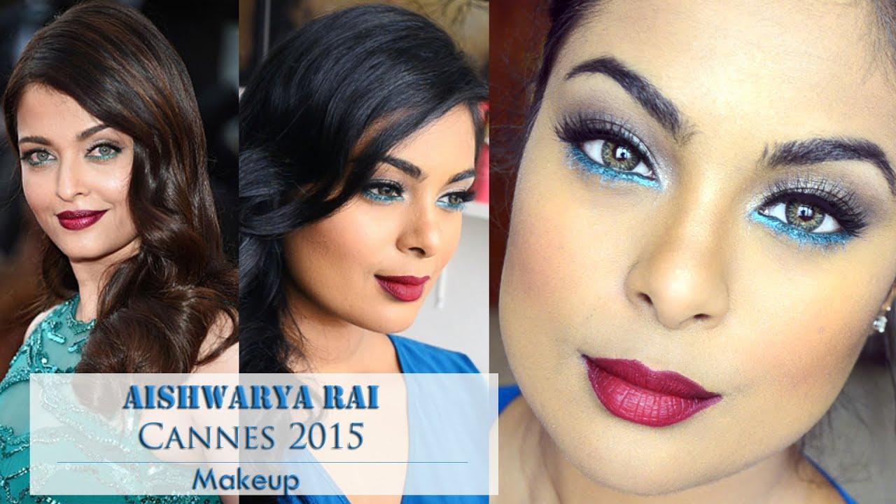 aishwarya rai cannes 2015 makeup teal eyeliner burgundy