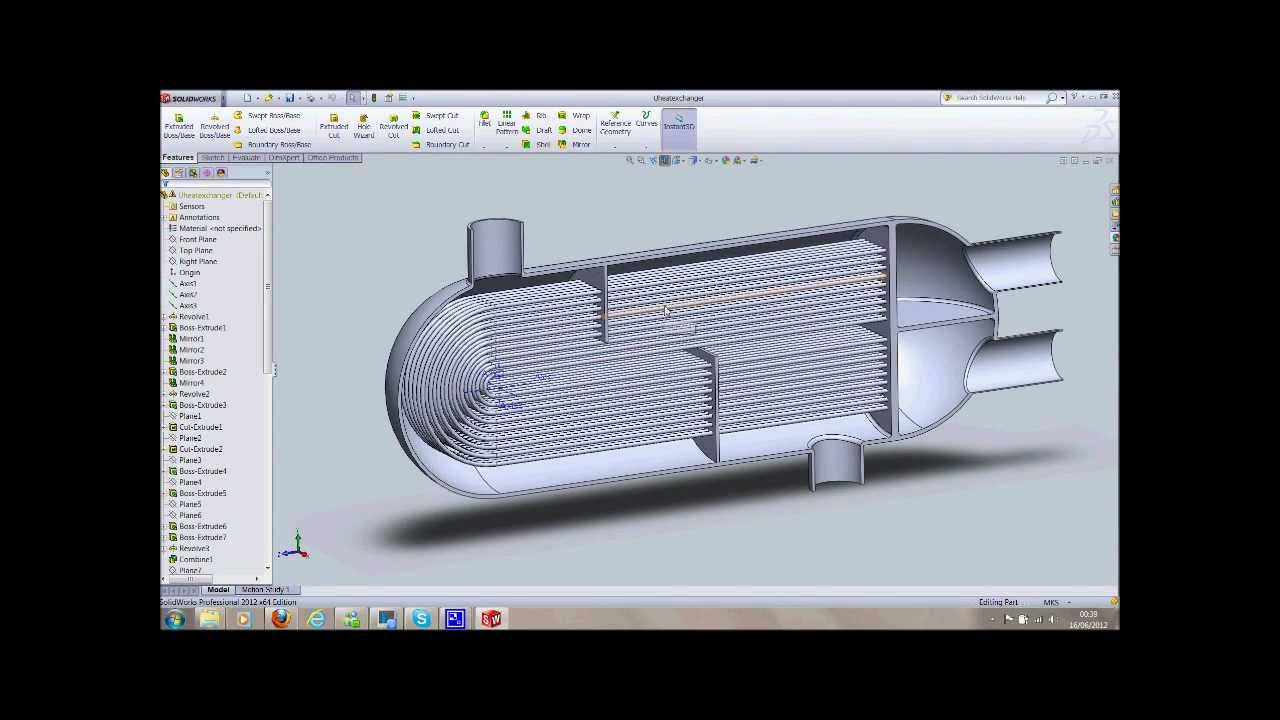 Модель теплообменника в solidworks Кожухотрубный испаритель Alfa Laval DM2-276-2 Балаково
