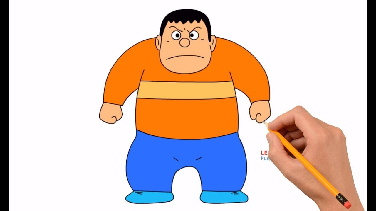 How to Draw Takeshi Gian From Doraemon Step by Step Easy ...