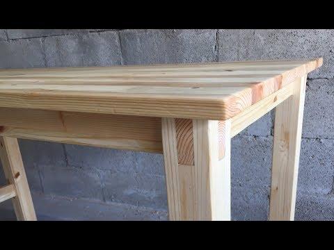 [목공/ Woodworking] 심플한 원목 책상 만들기 / Making A Simple Wood Desk Joined With Dowels