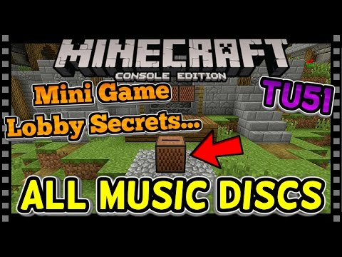 MINECRAFT TU51   ALL MUSIC DISCS - MINI GAME LOBBY SECRETS (Minecraft Console PS4 / Xbox)