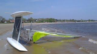 Solo capsizing and righting NACRA 5.5 catamaran