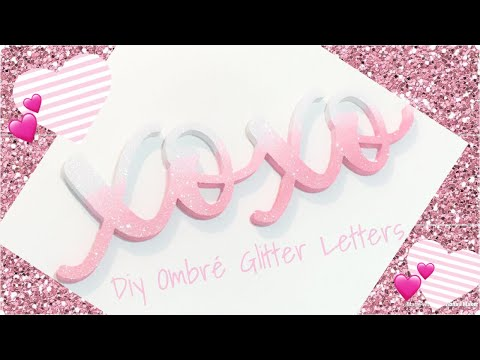 Watch me make it in 1 minute 💕 Ombré glitter letters for Valentine's Day