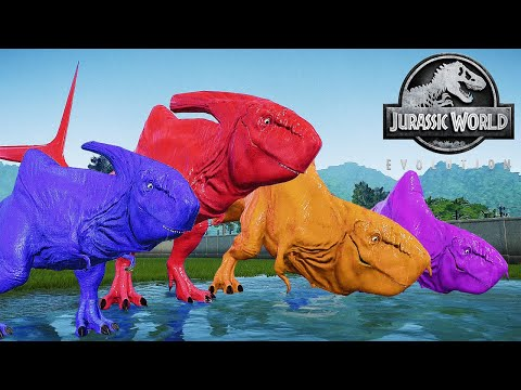 DINOSAUR HYBRID MEGALODON REX COLOUR PACK VS INDOMINUS REX VS SPINOSAURUS | JURASSIC WORLD EVOLUTION |