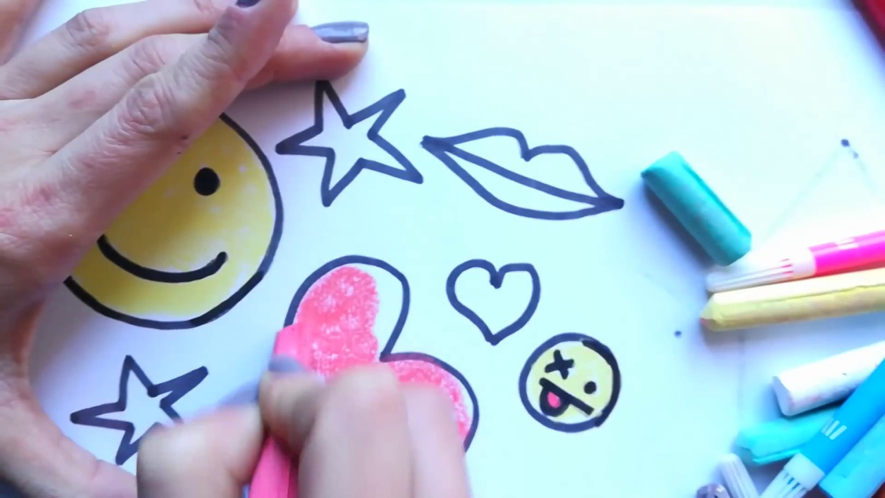 How to draw EMOJI - coloring pages HEARTS STARS - colors for kids ...