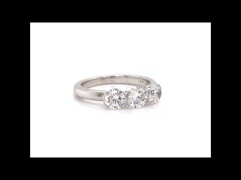 THEO FENNELL 18CT WHITE GOLD 1.23CT DIAMOND TRILOGY ENGAGEMENT RING