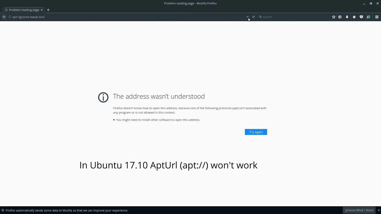 Ubuntu 17 10 Fix AptUrl(apt://) The Address wasn't understood error -  Firefox