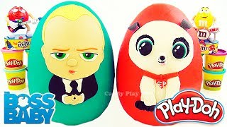 Huge Play Doh Surprise Egg with Boss Baby and Puppy | Learn Colours with Boss Baby and Play Doh