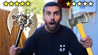 I Bought The BEST Rated and WORST Rated WEAPONS On Amazon!! AXE EDITION!! (5 STAR VS 1 STAR))