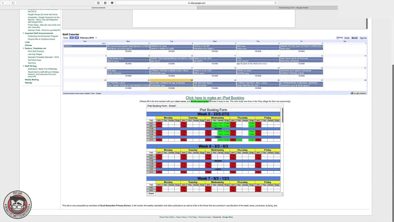 Using Google Docs to create a staff booking system for classrooms
