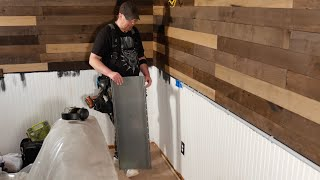How to install standing seam steel panel wainscot - The Family Room Remodel Part  19