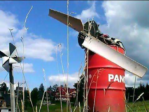 Wind turbine  fi 2,4m #  Wind  4m/s = 124 V  AC #  Prądnica z wirnikiem fi 2,4 (2 łopaty)
