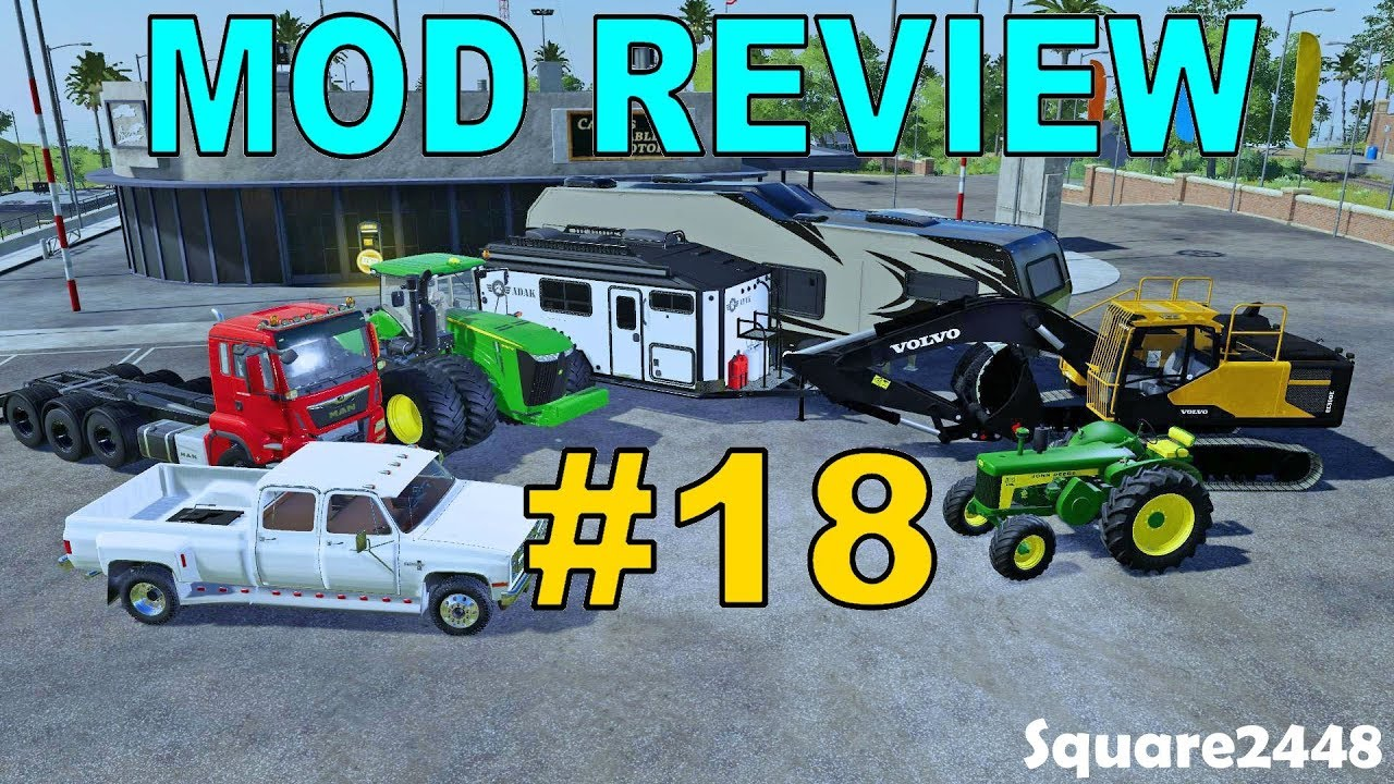 Farming Simulator 19 Mod Review #18 Camper Trailers, JD Tractors, Chevy,  Flatbed Trailers & More!
