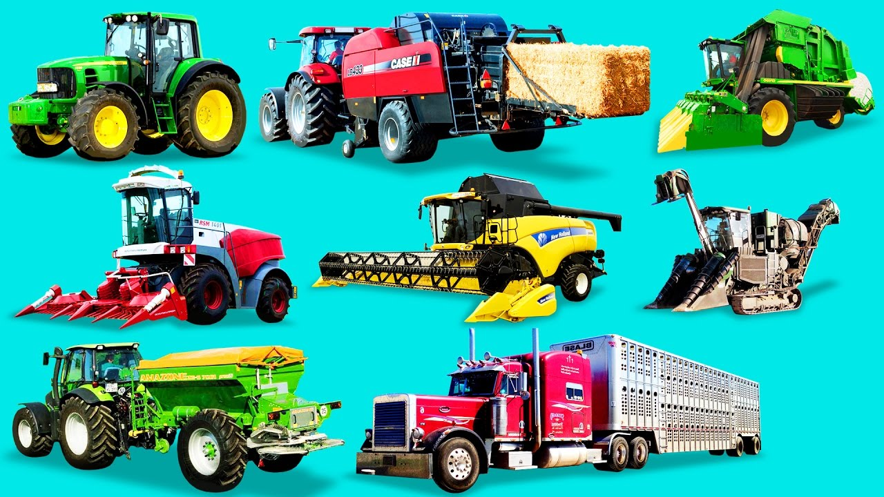 Names Of Parts Of Farm Tractors : Learn farm vehicles and equipment for kids names
