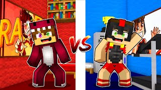 CUARTO de RAPTORGAMER vs CUARTO de INVICTOR 🤣 MINECRAFT BUILD TUBER