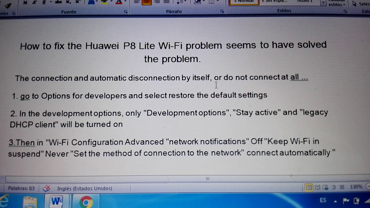 Huawei P8 lite wifi problem solved