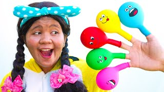 Linda Play Filling Water in Balloons Daddy Finger Nursery Rhymes | Learn Colors With Balloons