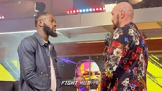 FACE TO FACE! DEONTAY WILDER & TYSON FURY BREAK CAMP & FACE OFF IN LOS ANGELES AT FOX STUDIOS