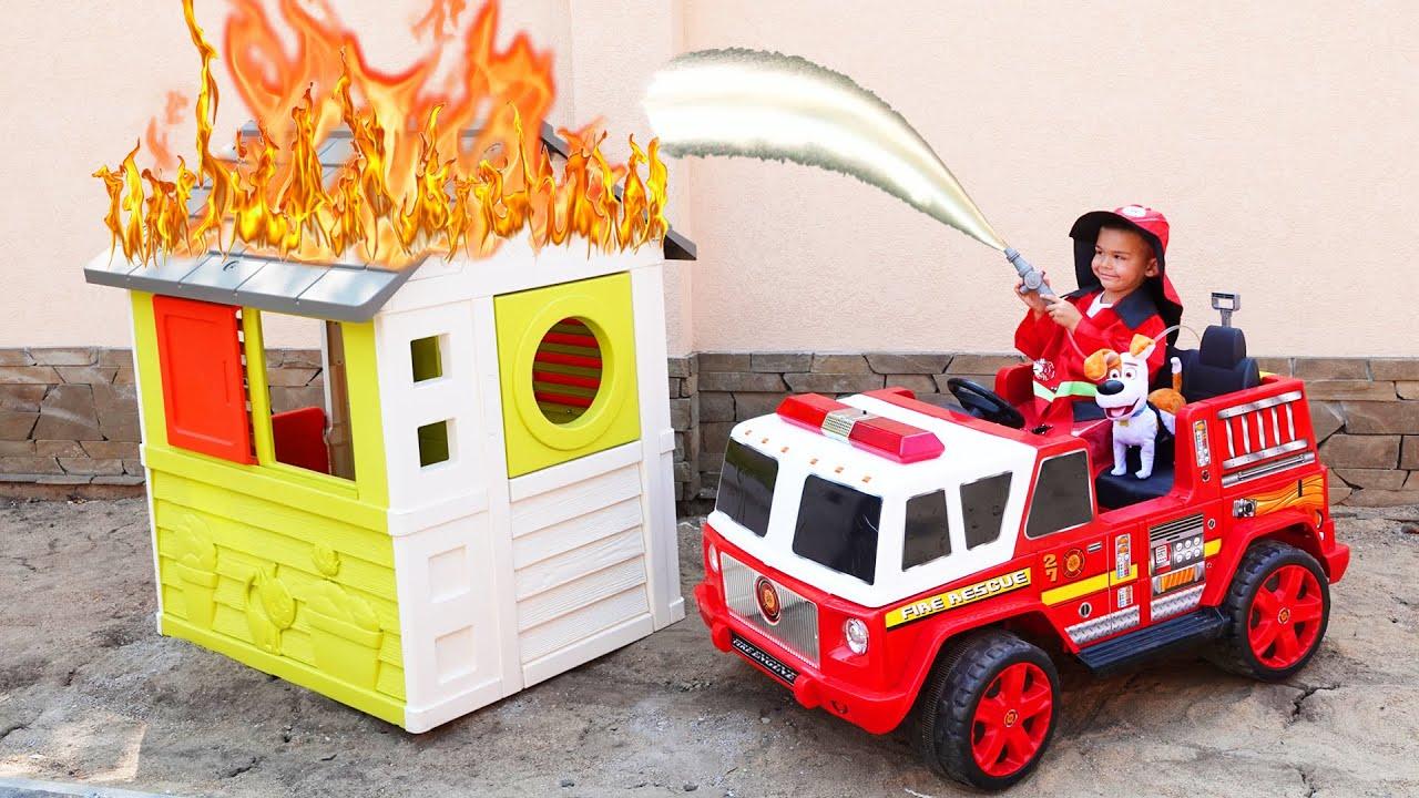 Дима играет в пожарного и полицейского весёлые истории