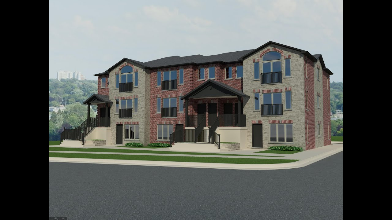 Fully 3d modeling and rendering plus photomontage of a 9 for Four unit apartment building plans