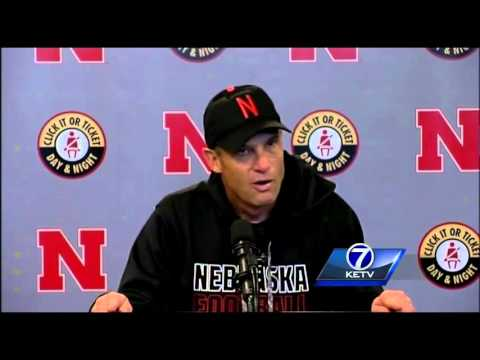 Mike Riley addresses the media after the Huskers lose to Northwestern