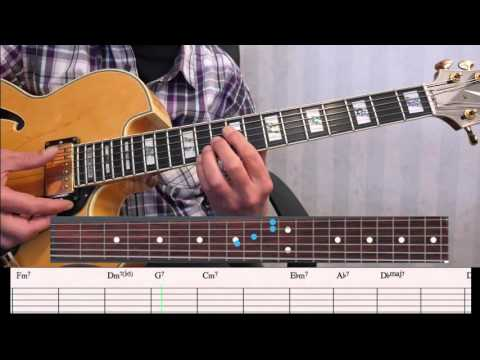 Blue Bossa voicings with block chords and fretboard view (update)