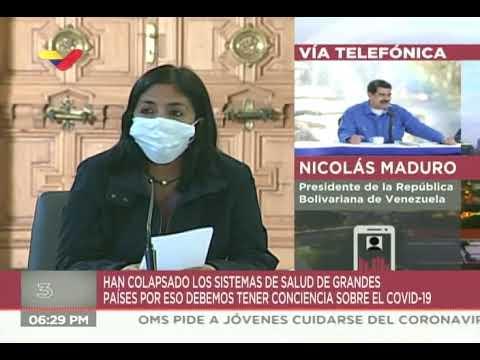 Reporte Coronavirus Venezuela, 20/03/2020, Delcy Rodríguez y Nicolás Maduro, jornada en Miraflores