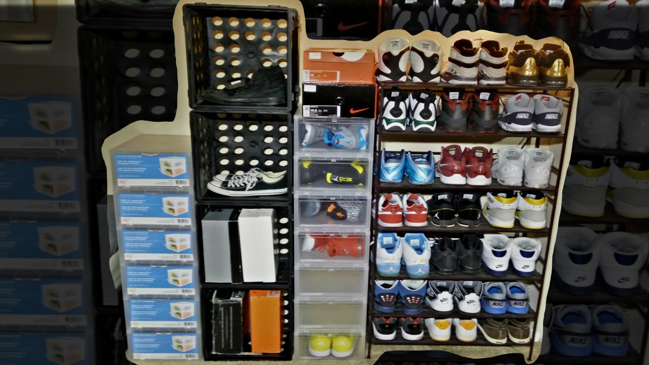 Iris Drop Front Storage Box U0026 Seville Classics Shoe Rack | Sneaker Display    YouTube