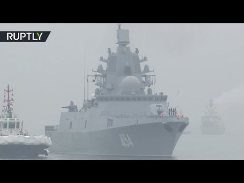 Russian Warship Admiral Gorshkov Arrives For Chinese Navy 70th Anniversary Celebration