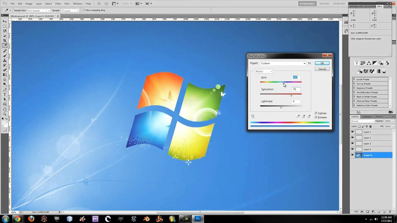 photoshop how to rainbow windows 7 background slide show