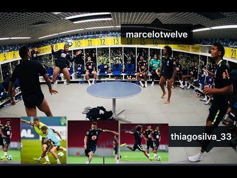 Neymar,Marcelo,Dani Alves &Thiago playing set-pool Brazil dressing-room ahead of World Cup qualifier